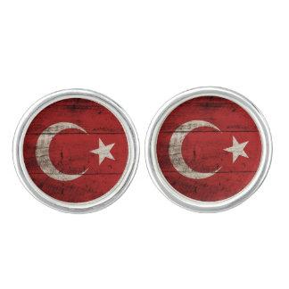 古い木製の穀物のトルコの旗 カフリンクス