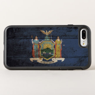 古い木製の穀物のニューヨーク州の旗 オッターボックスシンメトリーiPhone 8 PLUS/7 PLUSケース