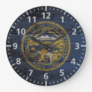 古い木製の穀物のネブラスカの州の旗 ラージ壁時計