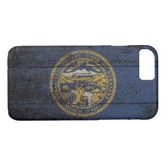 古い木製の穀物のネブラスカの州の旗 iPhone 8/7ケース
