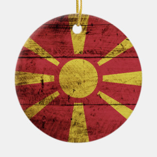 古い木製の穀物のマケドニアの旗 セラミックオーナメント