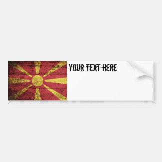 古い木製の穀物のマケドニアの旗 バンパーステッカー
