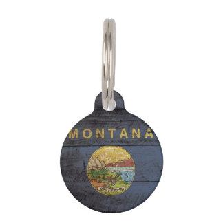 古い木製の穀物のモンタナの州の旗 ペット ネームタグ