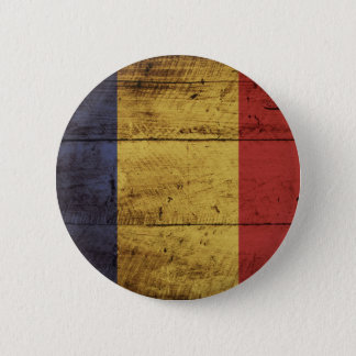 古い木製の穀物のルーマニアの旗 缶バッジ