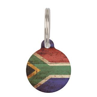 古い木製の穀物の南アフリカ共和国の旗 ペット ネームタグ
