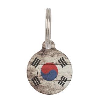 古い木製の穀物の南朝鮮の旗 ペット ネームタグ