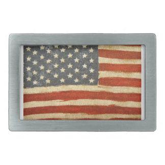古い栄光の米国旗 長方形ベルトバックル