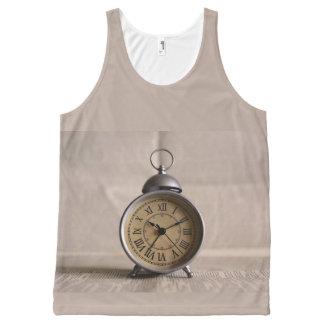 古い目覚し時計 オールオーバープリントタンクトップ