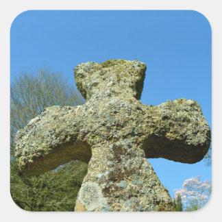 古い石造りの十字教会コーンウォールイギリス スクエアシール