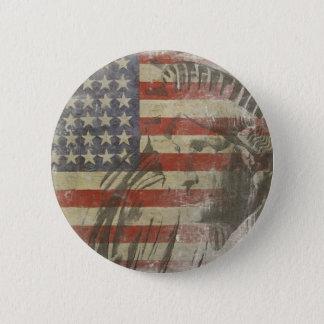 古い米国旗の自由の女神が付いているボタン 缶バッジ