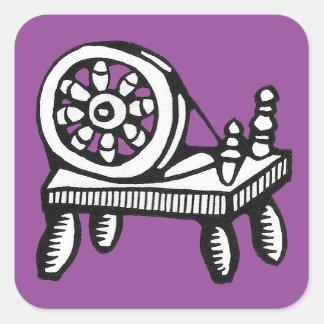 古い糸車のイメージのステッカー スクエアシール