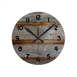古い納屋の大戸木 ラウンド壁時計