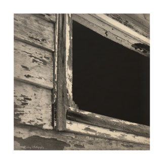 古い納屋の窓の素朴な芸術の木製のプリント ウッドウォールアート