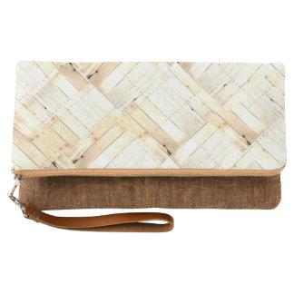 古い納屋板素朴な木製のBarnwoodの羽目板 クラッチバッグ