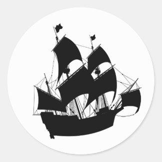 古い船のシルエットのステッカー 丸形シール・ステッカー