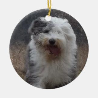 古い英国の牧羊犬のオーナメント-操業犬! セラミックオーナメント
