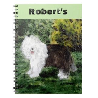 古い英国の牧羊犬の絵画 ノートブック
