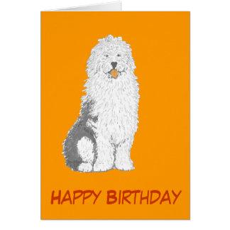 古い英国の牧羊犬の誕生日カードは、文字を加えます カード