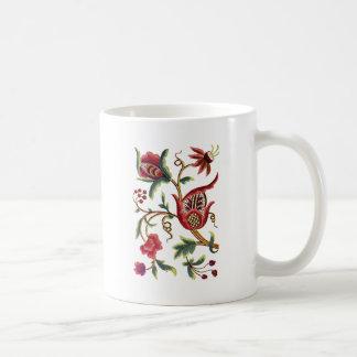 古い英国のJacobean刺繍 コーヒーマグカップ