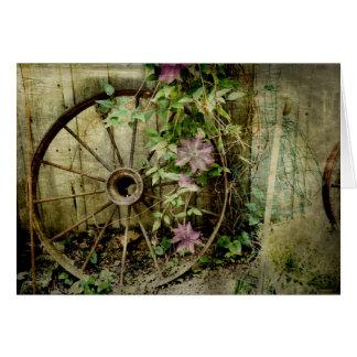 古い荷馬車の車輪 カード