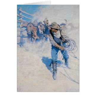 古い西の破損の馬の挨拶状 カード