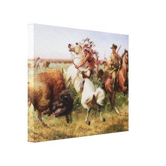 古い西の1895年のバッファローの狩り3Dの芸術のキャンバスプリント キャンバスプリント
