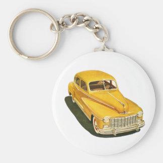 古い車Keychain ベーシック丸型缶キーホルダー