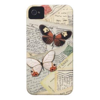 古い郵便はがき及び蝶コラージュ Case-Mate iPhone 4 ケース