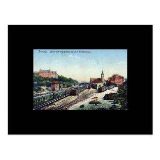 古い郵便はがき、グダニスクまたはダンチヒ-駅 ポストカード