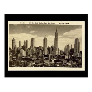 古い郵便はがき、ニューヨークシティのスカイライン ポストカード