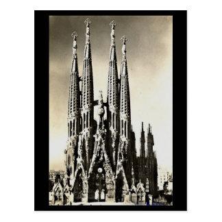 古い郵便はがき-バルセロナ、Sagrada Familia ポストカード