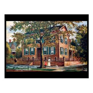 古い郵便はがき-リンカーンの家、病気スプリングフィールド ポストカード