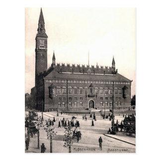古い郵便はがき-市役所、コペンハーゲン ポストカード