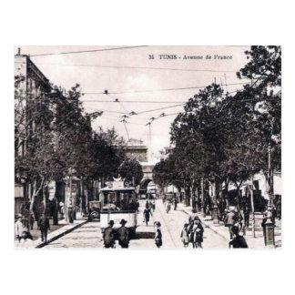 古い郵便はがき-道deフランス、チュニス ポストカード