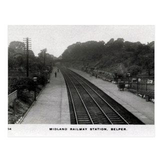 古い郵便はがき-駅、Belper、ダービーシャー ポストカード