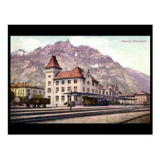 古い郵便はがき、駅、Glarus、スイス連邦共和国 ポストカード