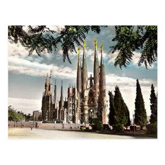 古い郵便はがき- Sagrada Familia、バルセロナ ポストカード