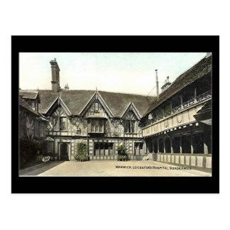 古い郵便はがき、WarwickのLeycesterの病院 ポストカード