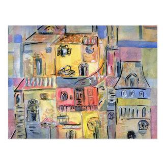 古い都市の絵画 ポストカード