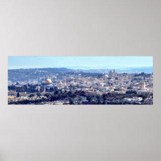 古い都市エルサレム- Mount Scopusからの眺め ポスター