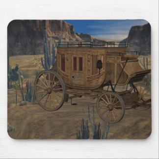 古い野生の西の駅馬車のマウスパッド マウスパッド