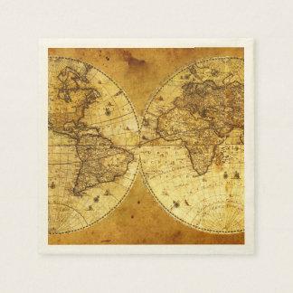 古い金世界地図 スタンダードカクテルナプキン