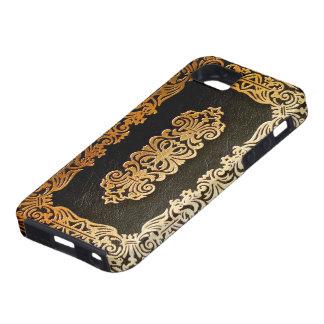 古い革黒及び金ゴールドの表紙 iPhone SE/5/5s ケース