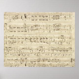 古い音楽ノート-ショパン音楽シート ポスター