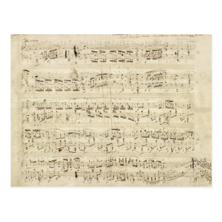古い音楽ノート-ショパン音楽シート ポストカード