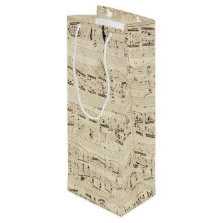 古い音楽ノート-ショパン音楽シート ワインギフトバッグ