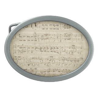 古い音楽ノート-ショパン音楽シート 卵形バックル