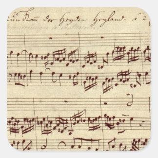古い音楽ノート- Bach音楽シート スクエアシール