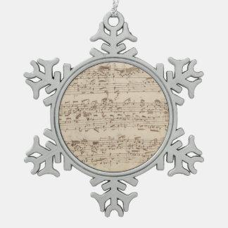 古い音楽ノート- Bach音楽シート スノーフレークピューターオーナメント