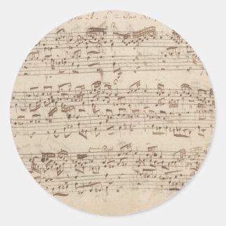 古い音楽ノート- Bach音楽シート ラウンドシール